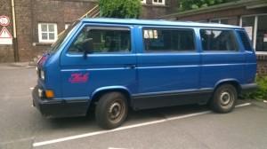 T3 Bulli blau Werbung